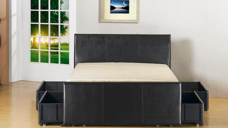 Faux leather princebed storage bed