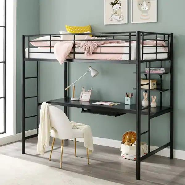 Taylor & Olive Abner Black Metal Twin Loft Bed